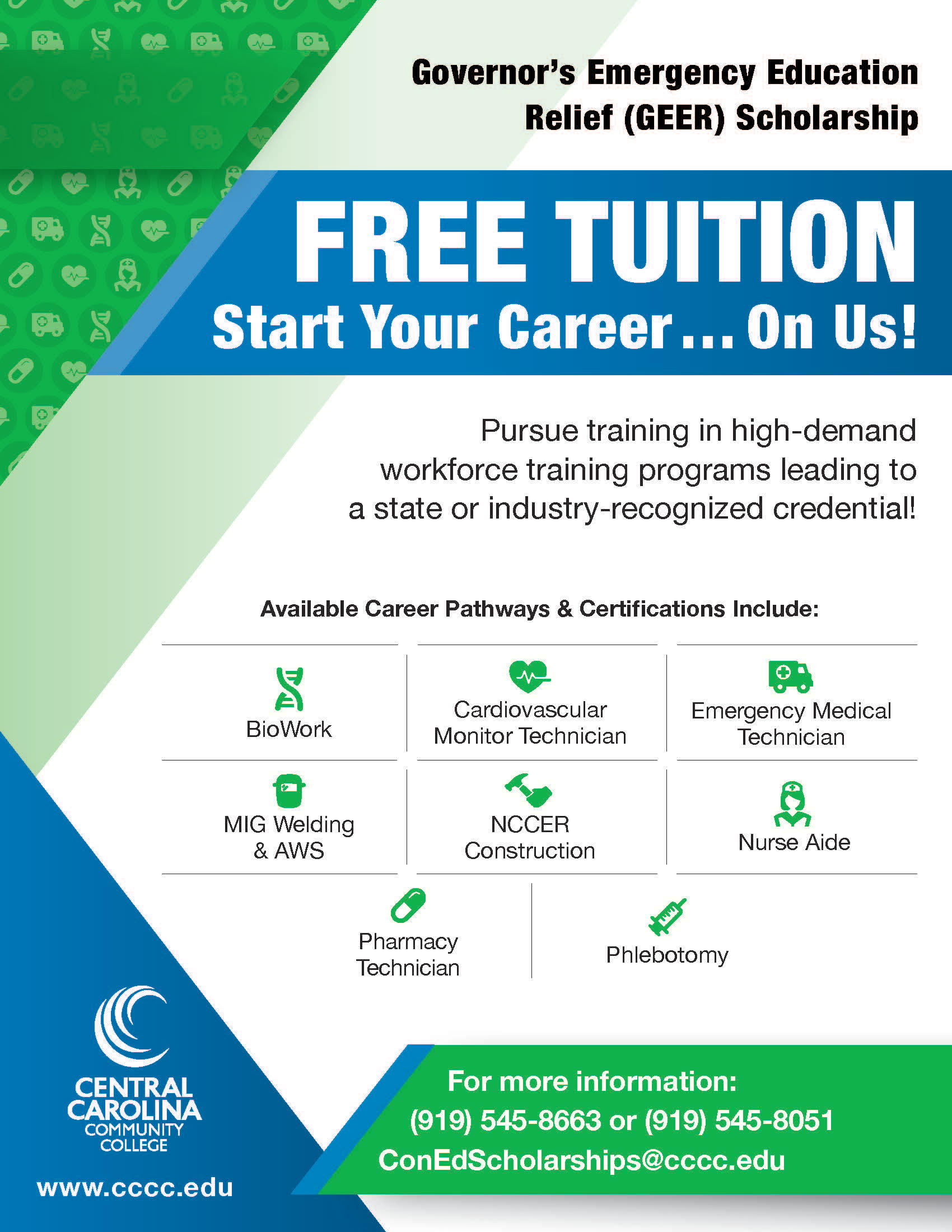 Read the full story, Free tuition for selected workforce training programs at CCCC